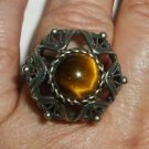 VINTAGE ANTIQUE BASKET STYLE FELIGREE SILVER RING  TIGER'S EYE STONE ADJUSTABLE