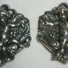 BEAUTIFUL VINTAGE FOREE STERLING SILVER CLIP EARRINGS CHERUB ANGEL ON SEA SHELL