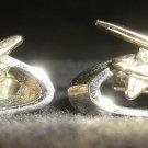 VINTAGE GOLD ON WHITE METAL WWII WAR AIRPLANE CUFFLINKS N74849 AVIATION