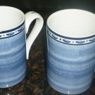 BEAUTIFUL DANSK NORWEGIAN BLUE SET OF TWO TEA COFFEE MUGS PORTUGAL BISTRO CAFE