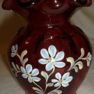VINTAGE CRANBERRY GLASS VASE FENTON P. HAYHURST PAINTED AND SIGNED