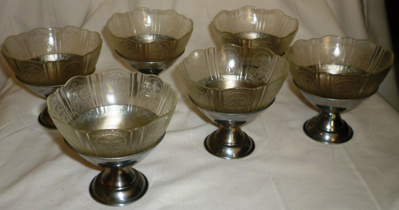 VNTG HAZEL ATLAS DEPRESSION ROYAL LACE GLASS INSERT W/CHROME PEDESTAL SHERBET 6