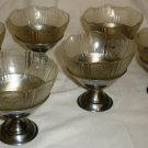 VNTG HAZEL ATLAS DEPRESSION ROYAL LACE GLASS INSERT W/CHROME PEDESTAL SHERBET 6