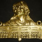 ANTIQUE BRONZE WALL PLAQUE KEY RACK 3D SCULPTURED GYPSY WOMAN