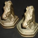STUNNING VINTAGE SOLID BRASS HORSE HEAD SCULPTURED BOOK ENDS DOOR STOPPERS