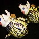 VINTAGE HANDPAINTED CERAMIC ARNART CREATION JAPAN OIL & VINEGAR CRUET SET PIGS
