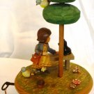 VINTAGE ANRI ROTATING MUSIC BOX GIRL DOG BIRD GIGI THORENT MOVEMENT SWITZERLAND