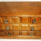 VINTAGE WALNUT WOOD DRAWERS JEWELRY MUSIC BOX PLAYS GODFATHER MUSIC