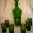 VINTAGE EMERALD GREEN GILDED GLASS DECANTER & 6 CORDIALS SET BOHEMIAN CZECH