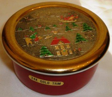 CHRISTMAS CHOKIN JAMESTOWN CHINA 24K GOLD TRIM TRINKEN BOX JAPAN