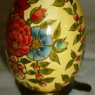 BEAUTIFUL COLLECTIBLE HAND PAINTED WOODEN EGG YELLOW W/ FLOWERS DISPLAY STAND
