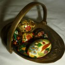COLLECTIBLE EASTER DECORATION 6 HANDPAINTED MINIATURE WOODEN EGGS W/BRASS BASKET
