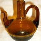 VINTAGE ANTIQUE AMBER BROWN HAND CRAFTED GLASS TEAPOT CRUET