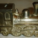 VINTAGE SILVERPLATE FIGURAL PIGGY STILL COIN BANK CHOO-CHOO TRAIN TZEDAKAH