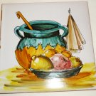 VINTAGE DECORATIVE PORCELAIN TILE HANDPAINTED FRUITS MADE IN SPAIN