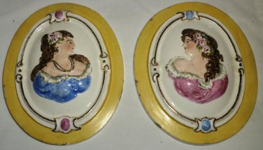 ANTIQUE CERAMIC OVAL 3D WALL POCKET TILE PLAQUE SET OF 2 CAMEO WOMAN LADY #58