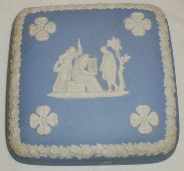 VINTAGE WEDGWOOD BLUE JASPERWARE SQUARE TRINKET BOX LID ONLY TILE