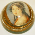GORGEOUS GLASS PAPERWEIGHT VICTORIAN PORTRAIT OF A YOUNG LADY FLOWER CROWN