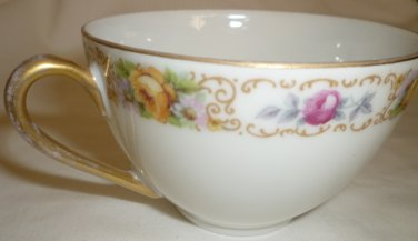 ANTIQUE PORCELAIN ROSENTHAL (no hallmark) DOUBLE HANDLED COFFEE TEA FLORAL CUP