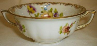 ANTIQUE DRESDEN PORCELAIN DOUBLE HANDLE FLORAL TEA COFFEE CUP 'R'
