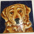 CHARMING CERAMIC TILE TRIVET PLAQUE GOLDEN RETRIEVER BY PUMPKIN HAND PAINTED