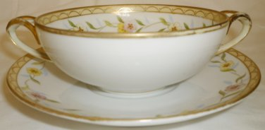 ANTIQUE PORCELAIN NIPPON M CONSOMME BOUILLON TEA DOUBLE HANDLED CUP & SAUCER 4+