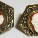 VINTAGE NEMO BRASS CAMEO WHITE ON BURGUNDY SCREW ON EARRINGS