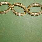 GORGEOUS ELEGANT GOLD METAL PAVE RHINESTONE OVAL LINK CUFF BANGLE BRACELET BRIDE