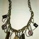 STUNNING VINTAGE CHAIN LINK MULTICOLOR DANGLING FACETED CRYSTAL CHARMS NECKLACE