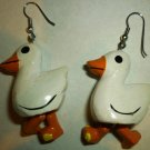VINTAGE WHIMSICAL 3D DUCK EARRINGS MOVING FEET