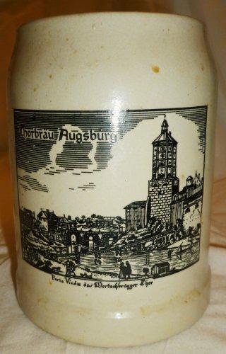 VINTAGE STONEWARE WEST GERMANY BEER MUG SKYLINE AUGSBURG