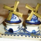 VINTAGE MINIATURE WINDMILL PORCELAIN SALT & PEPPER SHAKERS W/TRAY DELFT BLUE