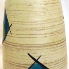 VINTAGE WEST GERMANY POTTERY CERAMIC GEOMETRICAL GLAZE DESIGN FLORAL VASE