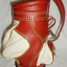 MINIATURE GOLF RED & WHITE BAG WINE BOTTLE HOLDER CADDY DECORATIVE TAIWAN
