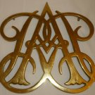 VINTAGE VIRGINIA METAL CRAFTERS WILLIAMSBURG QUEEN ANNE CYPHER SOLID BRASS TRIVET