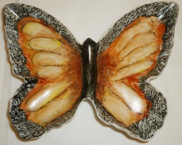 BEAUTIFUL HANDPAINTED DECORATIVE PORCELAIN BUTTERFLY FIGURAL DISH
