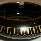 BEAUTIFUL ADIS GREECE BLACK PORCELAIN 24K GOLD TRIM ASHTRAY DEPICTS ANCIENT