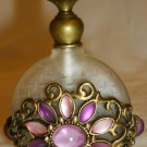 SHABBY CHIC FROSTED GLASS ENCASED BRASS PERFUME BOTTLE COLOR GLASS FLOWER