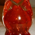 VINTAGE LEFTON OWL FIGURINE PAPERWEIGHT CONTROLLED BUBBLES ORANGE RED GLASS