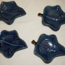 TERRE E PROVENCE POTTERY FRANCE MAPLE LEAF SMALL DISH ASHTRAY SET OF 4 BLUE
