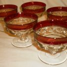 TIFFIN KING'S CROWN TIARA CRANBERRY GLASS SET OF 5 DESSERT SHERBET CHAMPAGNE