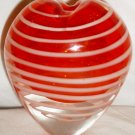 HEARSHAPED RED GLASS WHITE STRIPES SWIRL BUD VASE PAPERWEIGHT MURANO ART STUDIO