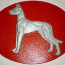 CAST IRON OUTSIDE INSIDE 3D DOG RED OVAL WALL PLAQUE