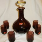VINTAGE SMOKY PURPLE GLASS WINE DECANTER W/6 CORDIAL SHOT GLASSES PORTUGAL