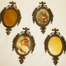 ANTIQUE WALL DECOR ITALY BRONZE FRAME SET OF 4 MIRRORS & PICTURES ROSES