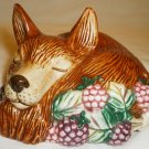 1990 FITZ & FLOYD HANDPAINTED PORCELAIN SLEEPING DOG FIGURINE POMANDER