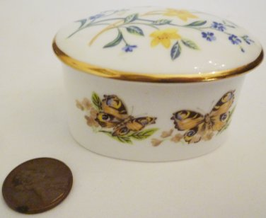 VINTAGE FINE BONE CHINA CAVERSWALL ENGLAND MINIATURE OVAL TRINKET BOX BUTTERFLIES