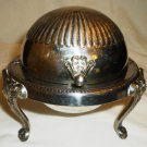 VINTAGE FB ROGERS ROLL TOP SILVER PLATE GLASS LINED CAVIAR BUTTER DISH