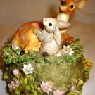 CHARMING SAN FRANCISCO MUSIC BOX FOREST FRIENDS BAMBI & BUNNY
