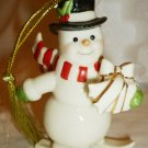 CHARMING LENOX VERY MERRY PORCELAIN 24K GOLD SKIING SNOWMAN CHRISTMAS ORNAMENT